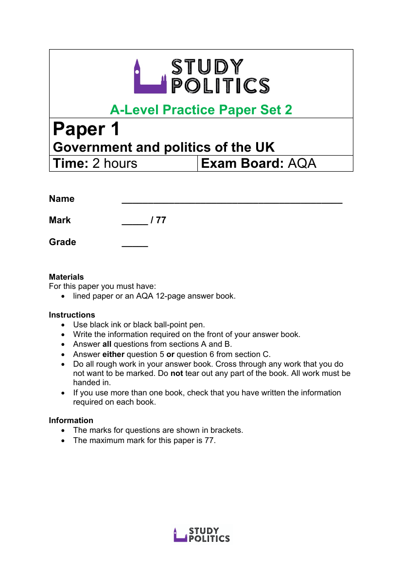 AQA A Level Set 1 Preview 1